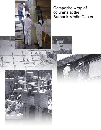 Composite wrap of columns at the Burbank Media Center